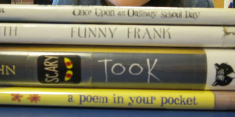 JBS students create book spine poetry to celebrate National Poetry Month